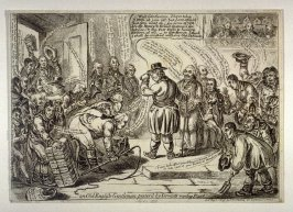 An Old English-Gentleman pester'd by Servants wanting Places