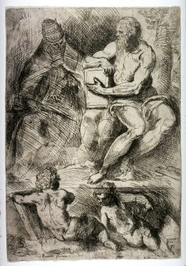 St. Jerome, Pope Damasus, and Two Putti, from the drawing manual, De excellentia et nobilitate delineationis libri duo (Principles of Drawing)