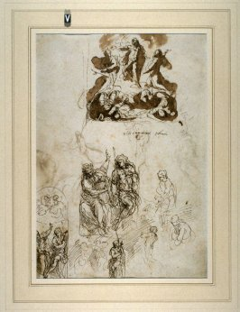 Recto: Studies of the Transfiguration and Saint John the Baptist 
