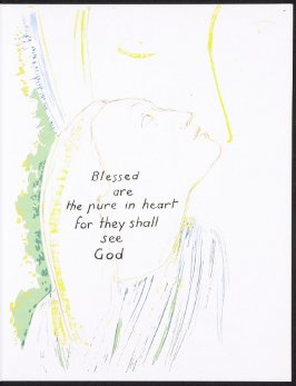 Blessed are the pure in heart..., numbered page 7 and third page of the second folio in the unbound book Sayings of Jesus (Milwaukee: Chirho Press, Marquette University, 1956)