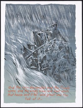 And the rain descended and the floods came and the winds blew...numbered page 77 and first page of the twentieth folio in the of unbound book Sayings of Jesus (Milwaukee: Chirho Press, Marquette University, 1956)
