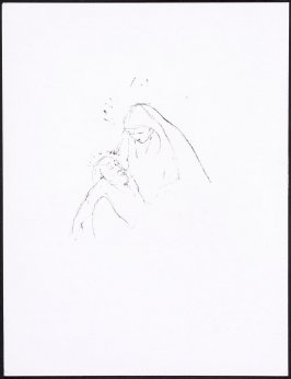 [Pieta], unnumbered page 120 and fourth page of the thirtieth folio in the unbound book Sayings of Jesus (Milwaukee: Chirho Press, Marquette University, 1956), back plate, Pieta.