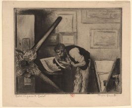 Henri Guerard (printer pulling proof of etching)