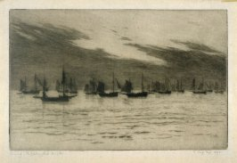 Evening, the fishing fleet, Brighton 1893