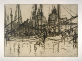 April 1914, boats in harbor in back Cathedral title: Adriatic trading vessels
