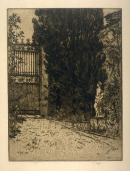Gate and sculptured figure of female in Garden setting