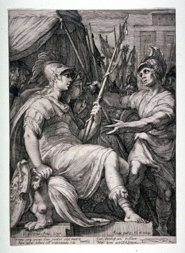 Athena Seated in a Pavillion, Surrounded by Soldiers