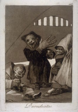 Duendecitos (Hobgoblins), plate 49 from the series Los Caprichos (Caprices)