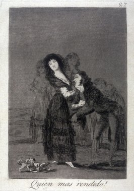 Quien mas rendido (Which of Them Is More Overcome?), plate 27 from the series Los Caprichos (Caprices)