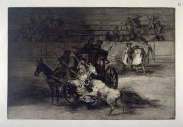 La Tauromaquia: Combat dans une voiture attelee de deux mulets (Fight in a carriage harnessed by two mules)
