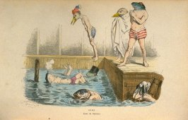 Ecole de natation..., plate 18 opposite page 95 in the book, Les métamorphoses du jour (Paris: Garnier Fréres, 1869)