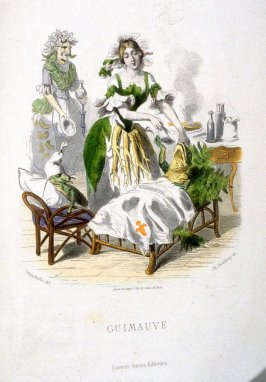 Guimauve, plate opposite p. 330 in the book, Les Fleurs animées (Paris: Garnier Frères, undated)