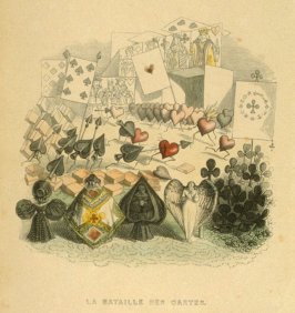 La bataille des cartes, opposite page 247 in the book Un autre monde by Grandville (Paris: H. Fournier, 1844)