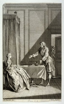 [interior scene with a woman seated at a table and a man standing gesturing at right]