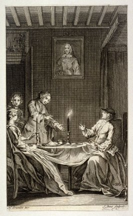 [interior scene with two women seated at a dinner table, a man walking in the door at left]
