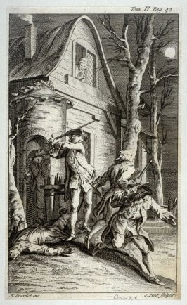 [night-scene in front of a house, with robbers(?) being chased away by a man swinging a sword]