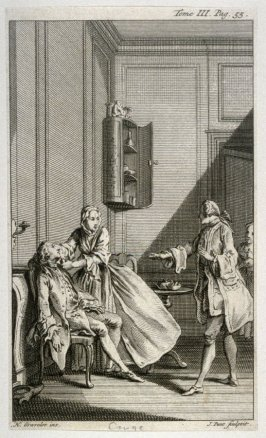 [interior scene with a woman trying to revive a fainted man]