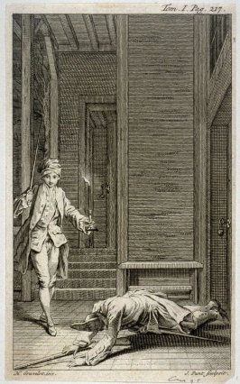 [night-scene with a young man stepping outside to check on a man lying on the ground]