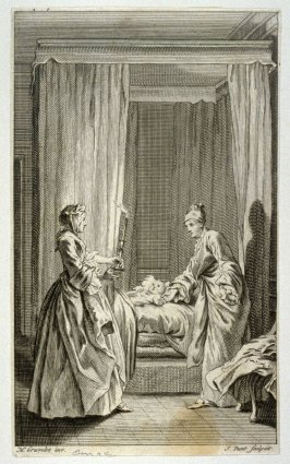 [interior scene with two women standing by a small child's bed side]