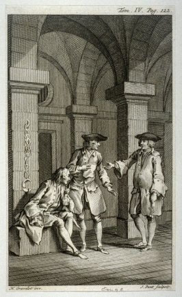 [interior scene with two man standing by a prisoner]