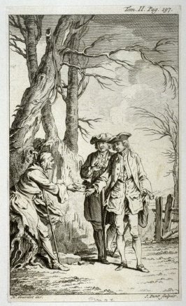 [two men pausing on their walk on a county road to give alms to a beggar sitting by the road side]