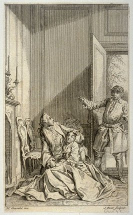 [interior scene with a man walking into a room and stumbling upon a couple sitting by the fire]