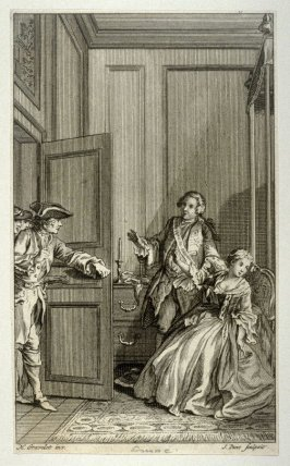 [interior scene with a man standing by a seated woman, an other man walking into the room at left]