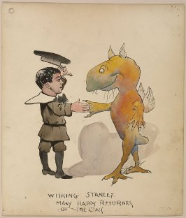 "Cartoon, ""Wishing Stanley Many Happy Returns of the Day"""