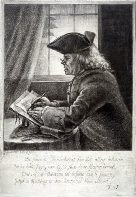 Man in tricorn hat sketching on drawing stand
