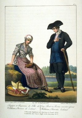 Paysan and Paysanne, plate 1 in the book, Collection des costumes…du royaume des Pays-Bas (Amsterdam: Frans Buffa [and] Paris: Engelmann, 1828)