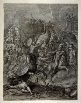 Battle scene with knights in armour