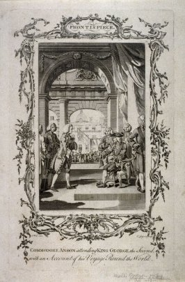 Commodore Anson attending King George, the Second, with an Account of his Voyage Round the World