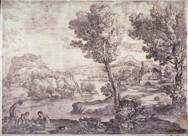 Landscape with a Man Standing Near Two Seated Men, after Titian