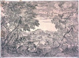 Landscape with Three Men, after Titian