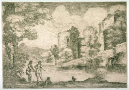 Landscape with Two Men Standing Near a Seated Man