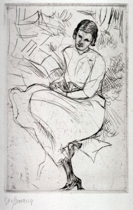 Girl Seated on a Grassy Bank