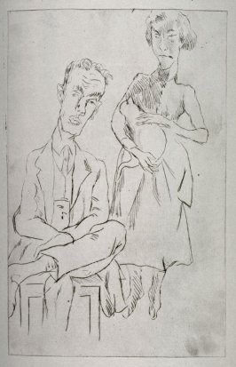 Man sitting, woman with cat standing