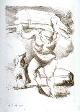 [Man carrying wood and dog]
