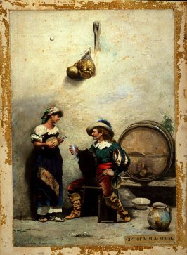 Italian Peasant Woman and Soldier Drinking