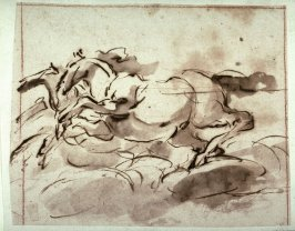 Horses, study for the ceiling fresco Aurora (1621-1623) in the Casino Ludovisi, Rome