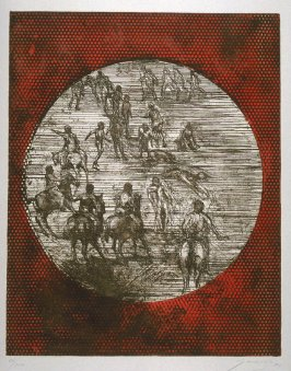 La batalla (The Fight), seventeenth plate in the portfolio, 21 Estampadores de Colombia, Mexico y Venezuela (21 Printmakers of Colombia, Mexico and Venezuela)
