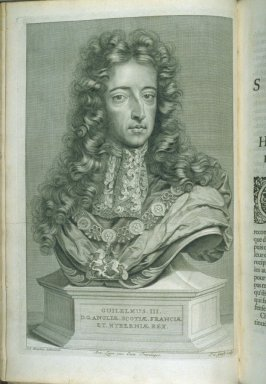 Guilelmus [William] III, portrait, at p. 1 in the book Relation du voyage de sa Majesté britannique en Hollande (The Hague: Arnout Leers, 1692)