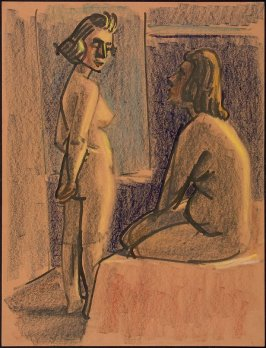 Untitled (Two Nude Female Figures, One Standing, One Seated)