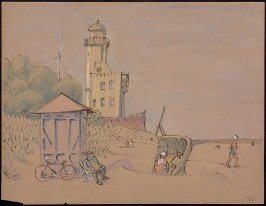 Untitled (Beach Scene with Tower)