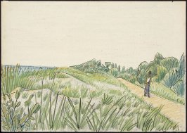 Untitled (Beach Scene, Man Walking on Path)