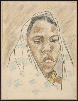 Untitled (Portrait of an African Woman with Striped Cloth Head Covering)