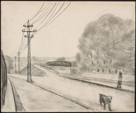 Untitled (Figure and Dog Walking Alongside a Row of Power Poles)