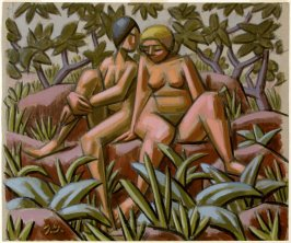 Untitled (Two Seated Female Nude Figures in a Forest)
