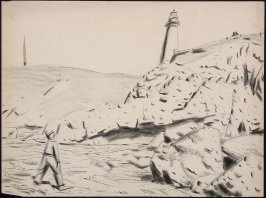 Untitled (Landscape with Lighthouse, Pacific Coast)