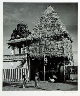 Next to the small temple of a village in Mysore stands the juggernaut float protected by a straw and bamboo canopy until needed for the annual religious procession.